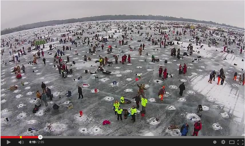 Ice fishing minnesota style drone video for Ice fishing tournament
